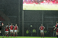 Heineken cup,round four, Scarlets v Ulster at Parc y Scarlets in Llanelli on Friday 12th December 2008. The players look skywards as the rain lashes down.