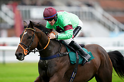 Lyrical Genius ridden by Brian Hughes goes on to win The Dreamland Bedding Open NH Flat Race at Warwick Racecourse. Picture date: Thursday September 30, 2021.