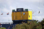20th July 2017, Royal Birkdale Golf Club, Southport, England; The 146th Open Golf Golf Championship, First round; A view of the main scoreboard above the grandstand on the 18th hole showing Jordan Spieth (USA) and Brooks Koepka of (USA) as joint leaders with opening rounds of 65