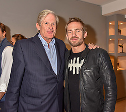 John Anstruther-Gough-Calthorpe and his son Jacobi Anstruther-Gough-Calthorpe at a private view of recent work by Georgiana Anstruther held at the Sladmore Gallery, 32 Bruton Place, London England. 08 November 2018. <br /> <br /> ***For fees please contact us prior to publication***