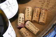 Domaine Coume del Mas. Banyuls-sur-Mer. Roussillon. Handful of corks on a table. France. Europe. Bottle.