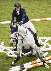 July 16, 2017 - Falsterbo, Sweden - JAN-PHILIPP WEICHERT, of Germany, crashes into an obstacle during the Falsterbo Grand Prix competition, on day nine of the Falsterbo Horse Show. (Credit Image: © Petter Arvidson/Bildbyran via ZUMA Wire)