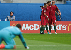 June 24, 2017 - Saint Petersburg, Russia - João Moutinho, André Silva, Pepe (L-R) of the Portugal national football team celebrates after scoring a goal during the 2017 FIFA Confederations Cup match, first stage - Group A between New Zealand and Portugal at Saint Petersburg Stadium on June 24, 2017 in St. Petersburg, Russia. (Credit Image: © Igor Russak/NurPhoto via ZUMA Press)