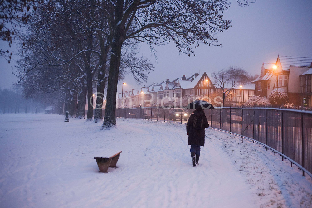 It is 07.45 on a dark, wintry morning and from behind, we follow a lone commuter who walks along a snow-covered path in Ruskin Park, an otherwise green space in the south London borough of Herne Hill, Lambeth. Street lights are still illuminating the road in the background and the blue light of early morning has fast becoming another day of snow showers and chilly temperatures. No grit or salt has been sprinkled on this slippery path and the person walks carefully carrying an umbrella from falling sleet which is soon to turn to rain as the temperature rises. Tall ash trees whose trunks form an avenue of cover and the commuter proceeds towards their neighbours to the station beyond. A single 4x4 car makes its way through this still quiet street with lights blazing.
