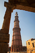"""The Qutb Minar, is a victory tower"""" that forms part of the Qutb complex, rhe tallest brick minaret in the world"""