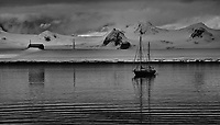 Sailboat Anchored Near the Argentine Research Station at Half Moon Island in the South Shetland Islands off Antarctica. Image taken with a Leica T camera and 18-56 mm lens (ISO 100, 56 mm, f/10, 1/640 sec). Raw image processed with Capture One Pro 8, Nik Silver Efex Pro 2, and Photoshop CC 2014