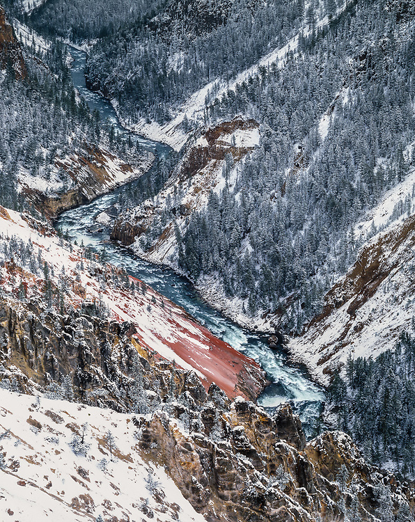 Grand Canyon of the Yellowstone River, autumn snow Yellowstone National Park, WYyoming, USA