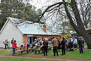 The crowd gathers in the beautiful and historic grounds of the Guildford Museum Precinct, Meadow Street, Guildford