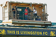 Best seats in the house, live broadcast during the Ladbrokes Scottish Premiership match between Livingston and St Mirren at Tony Macaroni Arena, Livingstone, Scotland on 20 April 2019.