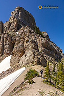 Backpacking at Cliff Mountain along the Chinese Wall in the Bob Marshall Wilderness, Montana, USA