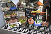 Display of fruit outside the Loaves and Fishes shop, Woodbridge, Suffolk, England