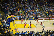 Golden State Warriors forward Kevin Durant (35) shoots a free throw during a NBA preseason game against the Los Angeles Clippers at Oracle Arena in Oakland, Calif., on October 4, 2016. (Stan Olszewski/Special to S.F. Examiner)