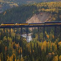 Train trestle outside the train station in Denali National Park Alaska.