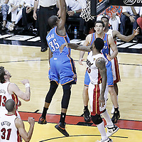 21 June 2012: Oklahoma City Thunder small forward Kevin Durant (35) dunks the ball on Miami Heat power forward Udonis Haslem (40) during the Miami Heat 121-106 victory over the Oklahoma City Thunder, in Game 5 of the 2012 NBA Finals, at the AmericanAirlinesArena, Miami, Florida, USA. The Miami Heat wins the series 4-1.