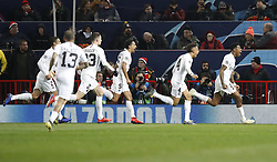 Paris Saint-Germain's Presnel Kimpembe celebrates scoring his side's first goal of the game during the UEFA Champions League round of 16, first leg match at Old Trafford, Manchester.