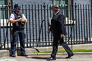 US Secretary of State Mike Pompeo greets the Police Guard as he arrives in Downing Street, central London on Tuesday, July 21, 2020. Sec Pompeo is scheduled to meet with Prime Minister Boris Johnson and Foreign Secretary Dominic Raab for discussions on 'global priorities, including the COVID-19 economic recovery plans, issues related to the People's Republic of China (PRC) and Hong Kong, and the US-UK Free Trade Agreement negotiations. (VXP Photo/ Vudi Xhymshiti)