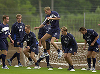 Rangers pre season training at new Auchenhowie complex on outskirts of Glasgow.<br />Pic Ian Stewart, DIGITALSPORT June 26th. 2001<br />Tore Andre Flo back at training today with Rangers in their new trainig complex at Auchenhowie near Glasgow<br />Other players from left are Christian Nerlinger(new signing from Borussia Dortmund) Bert Konterman, Peter Lovenkrands,Fernando Ricksen and Andrei Kanchelskis