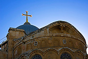 Israel, Jerusalem, The golden cross on the roof of the church of the Holy Sepulchre, Old city, Jerusalem