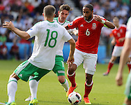 Ashley Williams of Wales ® in action. UEFA Euro 2016, last 16 , Wales v Northern Ireland at the Parc des Princes in Paris, France on Saturday 25th June 2016, pic by  Andrew Orchard, Andrew Orchard sports photography.