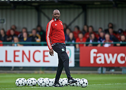 NEWPORT, WALES - Sunday, May 26, 2019: Patrick Vieira gives a practical demonstration of defending the opposition half during day three of the Football Association of Wales National Coaches Conference 2019 at Dragon Park. (Pic by David Rawcliffe/Propaganda)
