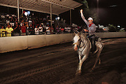 Hal Hall riding his horse Francisco finishes the annual Tevis Cup 100-mile endurance horse race from Squaw Valley to Auburn, California in 1990.