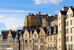 View of Edinburgh Castle and historic houses at Grassmarket in Edinburgh Old town, Scotland, UK