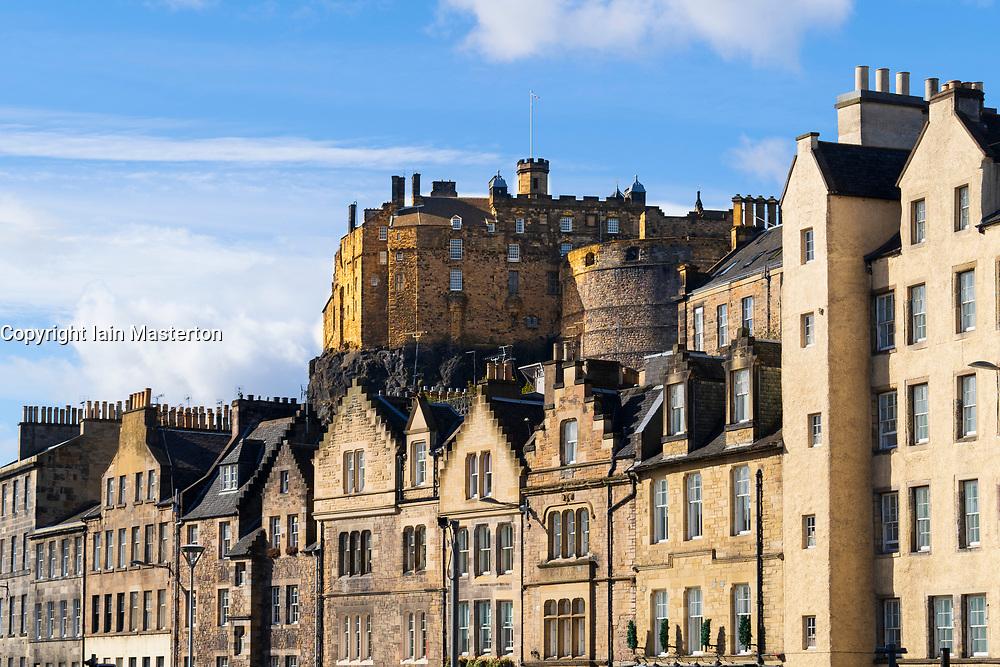 View of Edinburgh Castle and historic houses at Grassmarket in Edinburgh Old town, Scotland, UK