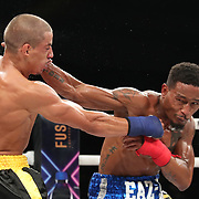 DAYTONA BEACH, FL - SEPTEMBER 11: Abdiel Velazquez gets punched in the head by Reggie Barnett during the Bare Knuckle Fighting Championships at the Ocean Center on September 11, 2020 in Daytona Beach, Florida. (Photo by Alex Menendez/Getty Images) *** Local Caption *** Abdiel Velazquez; Reggie Barnett