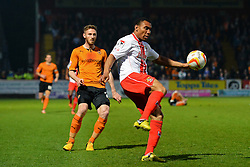 Stevenage's defender Bira Dembele clears the ball  - Photo mandatory by-line: Mitchell Gunn/JMP - Tel: Mobile: 07966 386802 01/04/2014 - SPORT - FOOTBALL - Broadhall Way - Stevenage - Stevenage v Wolverhampton Wanderers - League One