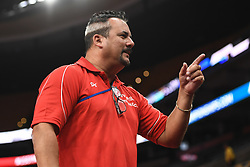 August 18, 2018 - Boston, Massachussetts, U.S - Coach YIN ALVAREZ sports a unique hair style during the final round of competition held at TD Garden in Boston, Massachusetts. (Credit Image: © Amy Sanderson via ZUMA Wire)