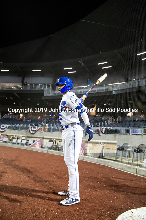 Amarillo Sod Poodles infielder Hudson Potts (10) against the Arkansas Travelers on Saturday, May 4, 2019, at HODGETOWN in Amarillo, Texas. [Photo by John Moore/Amarillo Sod Poodles]