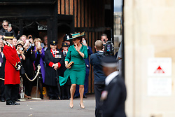 Sarah, Duchess of York arrive for the wedding of Princess Eugenie to Jack Brooksbank at St George's Chapel in Windsor Castle.