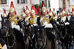 © Licensed to London News Pictures. 20/04/2016. London, UK. The Household Cavalry exercise their Freedom of the City of London as they parade along Fleet Street towards St Paul's Cathedral and the Guildhall in the City of London. Photo credit : Vickie Flores/LNP