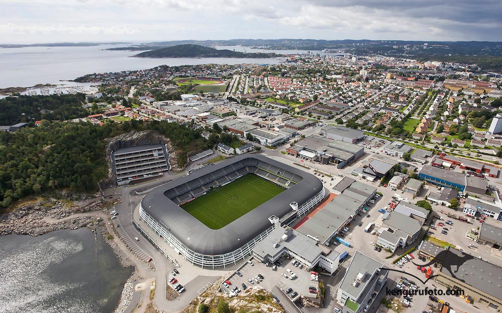 Kristiansand, 20090817.<br /> Sør Arena er hjemme-stadion til eliteserielaget Start i Kristiansand, her sett fra luften en augustdag.<br /> Foto: Tor Erik Schrøder