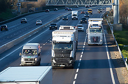 © Licensed to London News Pictures. 17/12/2020. <br /> Maidstone, UK. Freight lorries traveling towards Dover today on the M20 in Kent near Maidstone as the M20 is closed coastbound at junction 13 for freight traffic management. With the Brexit transition period coming to an end on December 31st 2020 freight hauliers travelling to the EU may require a European Conference of Ministers of Transport permit for some journeys from the 1st of January 2021. It is still depend on the UK and EU negotiations as to which permits will be required. Photo credit:Grant Falvey/LNP