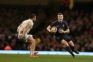 Scott Williams of Wales ® runs at  Merab Sharikadze of Georgia (l). Under Armour 2017 series Autumn international rugby, Wales v Georgia at the Principality Stadium in Cardiff , South Wales on Saturday 18th November 2017. pic by Andrew Orchard, Andrew Orchard sports photography