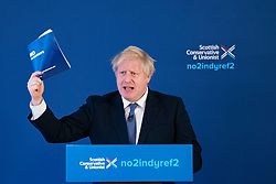 North Queensferry, Scotland, UK. 26th November 2019. Prime Minister Boris Johnson at launch of Scottish Conservatives General Election Manifesto in North Queensferry today. The main thrust of manifesto is to stop a second referendum on Scottish independence. Iain Masterton/Alamy Live News.