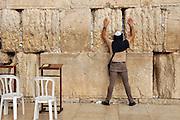 Wailing Wall, Jerusalem old city, Israel Man at prayer