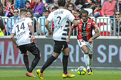 April 8, 2018 - Nice, France - Alassane Plea (OGC Nice) - Benjamin Bourigeau (FC Rennes) - Mehdi Zeffane  (Credit Image: © Panoramic via ZUMA Press)