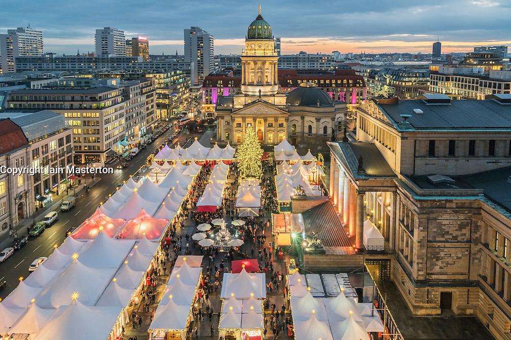 Evening view of Christmas Market at Gendarmenmarkt in Berlin Germany 2015