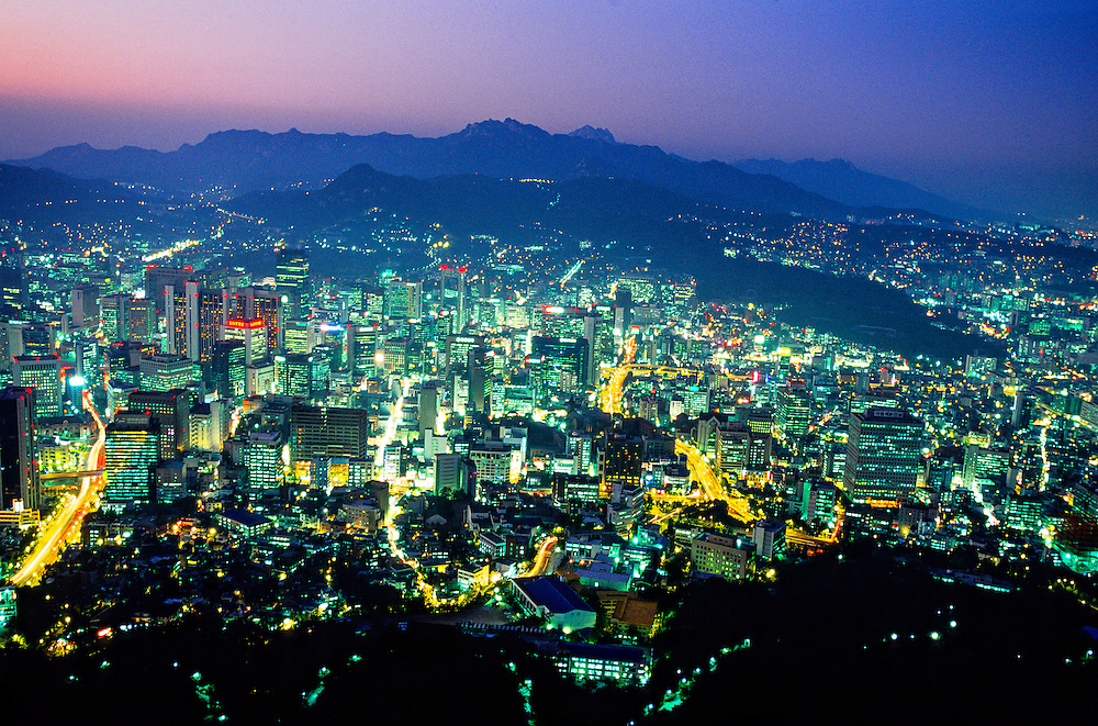 Central Seoul from the Seoul Tower at twilight, Namsan Mountain, Seoul, South Korea