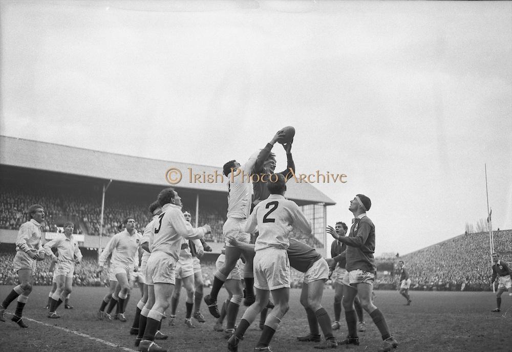 Irish Rugby Football Union, Ireland v England, Five Nations, Landsdowne Road, Dublin, Ireland, Saturday 13th February, 1965,.13.2.1965, 2.13.1965,..Referee- H S Laidlaw, Scottish Rugby Union, ..Score- Ireland 5 - 0 England, ..Irish Team, ..T J Kiernan,  Wearing number 15 Irish jersey, Full Back, Cork Constitution Rugby Football Club, Cork, Ireland,..P J Casey, Wearing number 14 Irish jersey, Right Wing, Landsdowne Rugby Football Club, Dublin, Ireland, ..M K Flynn, Wearing number 13 Irish jersey, Right Centre, Wanderers Rugby Football Club, Dublin, Ireland, ..K J Houston, Wearing number 12 Irish jersey, Left Centre, Bruff Rugby Football Club, Limerick, Ireland, and, Oxford University Rugby Footabll Club, Oxford, England,..P J McGrath,  Wearing number 11 Irish jersey, Left Wing, University college Cork Rugby Football Club, Cork, Ireland,..C M H Gibson, Wearing number 10 Irish jersey, Stand Off, Cambridge University Rugby Football Club, Cambridge, England, and, N.I.F.C, Rugby Football Club, Belfast, Northern Ireland, ..R M Young, Wearing number 9 Irish jersey, Scrum Half, Queens University Rugby Football Club, Belfast, Northern Ireland,..S MacHale, Wearing number 1 Irish jersey, Forward, Landsdowne Rugby Football Club, Dublin, Ireland, ..K W Kennedy, Wearing number 2 Irish jersey, Forward, Queens University Rugby Football Club, Belfast, Northern Ireland,..R J McLoughlin, Wearing number 3 Irish jersey, Captain of the Irish team, Forward, Gosforth Rugby Football Club, Newcastle, England, ..W J McBride, Wearing number 4 Irish jersey, Forward, Bective Rangers Rugby Football Club, Dublin, Ireland,  ..W A Mulcahy, Wearing number 5 Irish jersey, Forward, Bective Rangers Rugby Football Club, Dublin, Ireland,  ..M G Doyle, Wearing number 6 Irish jersey, Forward, University College Dublin Rugby Football Club, Dublin, Ireland,..R A Lamont, Wearing number 8 Irish jersey, Forward, Instonians Rugby Football Club, Belfast, Northern Ireland, ..N Murphy, Wearing number 7 Irish jersey,