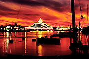 Sunset over Newport harbor and the Balboa Pavilion in Newport Beach, California