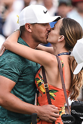 August 12, 2018 - Town And Country, Missouri, U.S - BROOKS KOEPKA from West Palm Beach Florida, USA gets a kiss from his significant other after his victory on the 18th green during round four of the 100th PGA Championship on Sunday, August 12, 2018, held at Bellerive Country Club in Town and Country, MO (Photo credit Richard Ulreich / ZUMA Press) (Credit Image: © Richard Ulreich via ZUMA Wire)