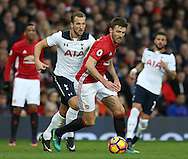 Michael Carrick of Manchester United and Harry Kane of Tottenham during the English Premier League match at Old Trafford Stadium, Manchester. Picture date: December 11th, 2016. Pic Simon Bellis/Sportimage