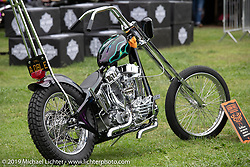 BF11 invited builder Reid McCleary's 1955 custom Harley-Davidson Panhead at the Born Free set-up day before the big show. Oak Canyon Ranch, Silverado, CA, USA. Friday, June 21, 2019. Photography ©2019 Michael Lichter.CA, USA.