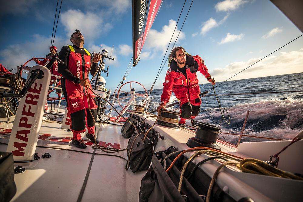 Leg 02, Lisbon to Cape Town, day 14, on board MAPFRE Xabi Fernandez and Blair Tuke trimming. Photo by Ugo Fonolla/Volvo Ocean Race. 18 November, 2017