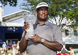 Highland Park 7/15/18  Vijay Singh with the Constellation Seniors Players Championships trophy after the Final round of the Constellation Seniors Players Championships at Exmoor Country Club on the PGA Champions Tour in Highland Park, Illinois, United States of America    Hummingbird Pediatric Therapies ..Christina Morrissey, Nicole Dawson, Sarah Ahlm...Joel Lerner/JWC Media..Indianapolis, 7/15/18  during the NBA 1st round playoff series basketball game between the Cleveland Cavaliers and the Indiana Pacers at Bankers Life Fieldhouse in Indianapolis  United States of America  (Credit Image: © Joel Lerner/Xinhua via ZUMA Wire)