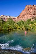 Little Navajo Falls along the Havasu Falls Trail in Supai, Arizona.