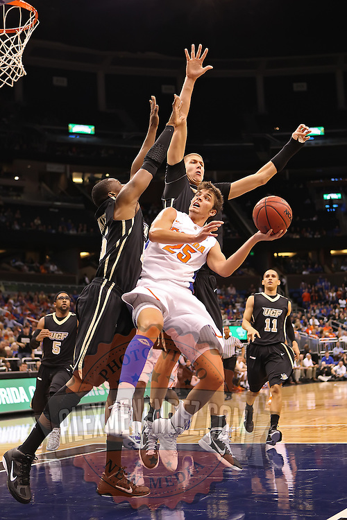Florida Gators forward Chandler Parsons (25) plays against the University of Central Florida Knights  at the Amway Center on December 1, 2010 in Orlando, Florida. Central Florida won the game 57-54 for their first ever victory against a nationally ranked team. (AP Photo/Alex Menendez)